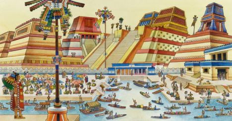 """""""Illustration of the Aztec City of Tenochtitlan."""" Gale Student Resources in Context. Detroit: Gale, 1980. Student Resources in Context. Web. 14 Oct. 2016."""